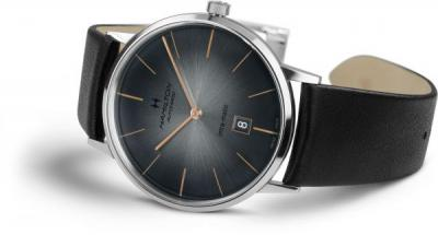 INTRA-MATIC 42MM, GREY DIAL, BLACK LEATHER STRAP